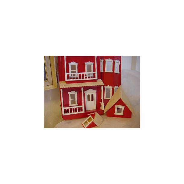 Dukkehus i træ - Victoria rød