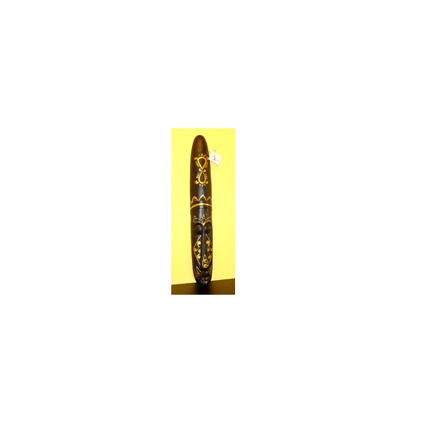 Lang sort træmaske- tatoomaske med gulddekoration