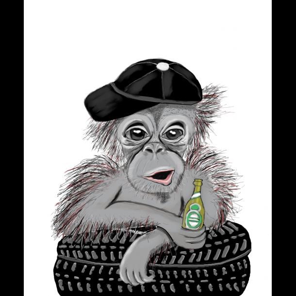 Chimpanse med Øl A4
