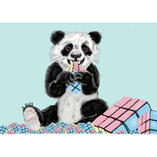 Panda med kubikterninger A3